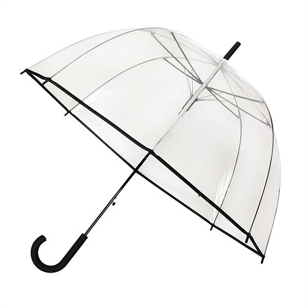 Falconetti® Dámský průhledný deštník HAPPY s černým lemem