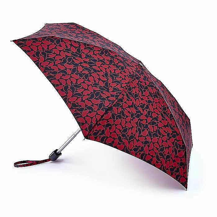 Fulton Lulu Guinness dámský skládací deštník Tiny 2 ALL OVER HAND DRAWN LIPS L717